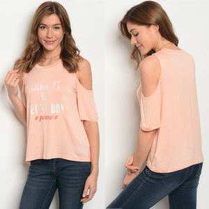 Tops - Cold shoulder top, peace tops for women, positive